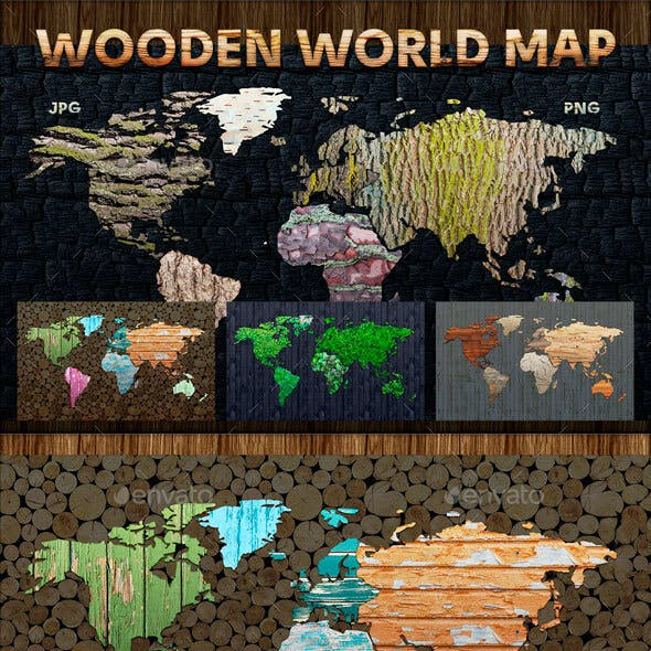 Wooden World Map Pack