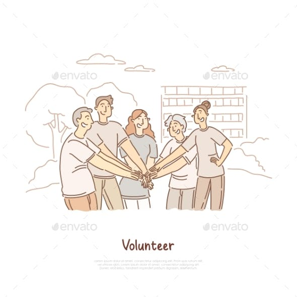 Volunteers Doing Charity Community Togetherness
