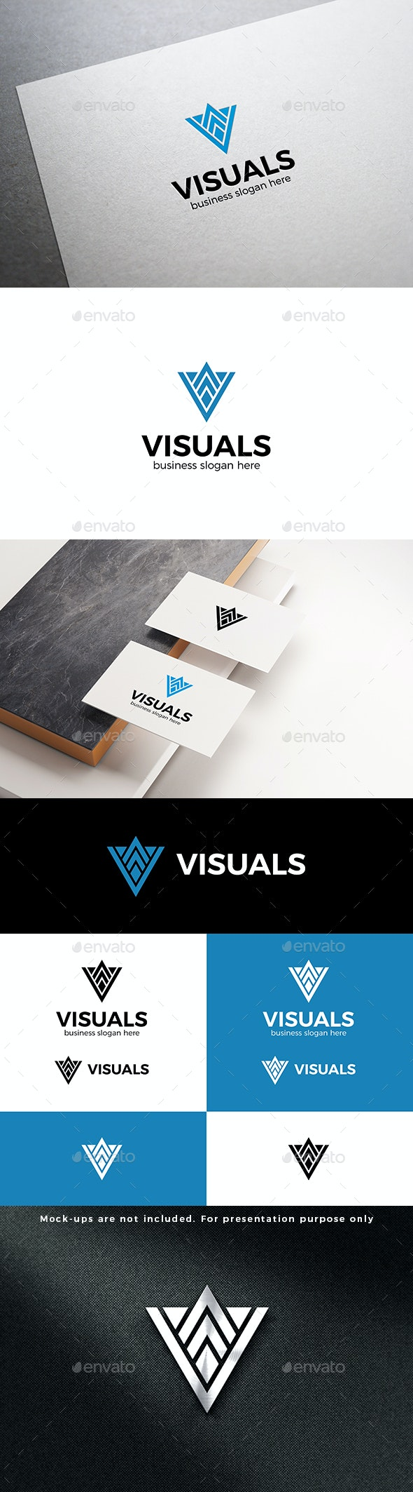 Abstract Geometric Triangle Logo Letter V - Abstract Logo Templates