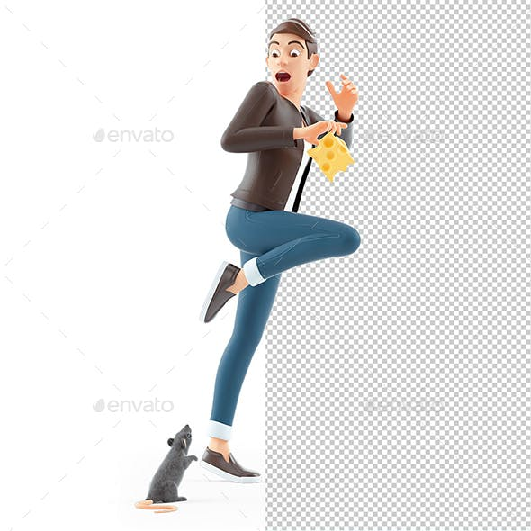 3D Cartoon Man with Piece of Cheese Scared of Rat