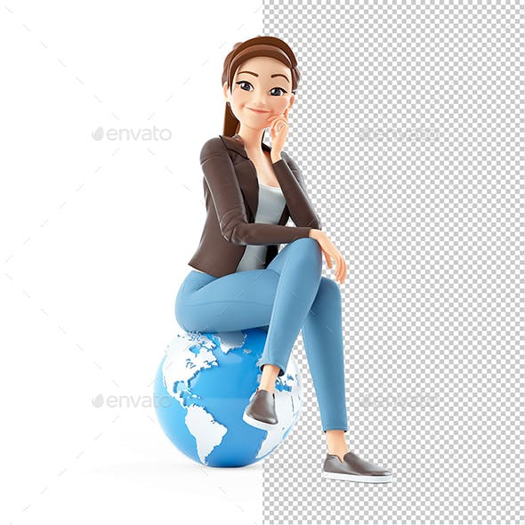 3D Cartoon Woman Sitting on the Earth