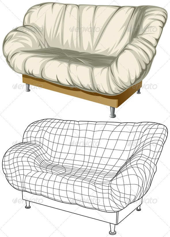 Sofa. 3D Construction - Man-made Objects Objects