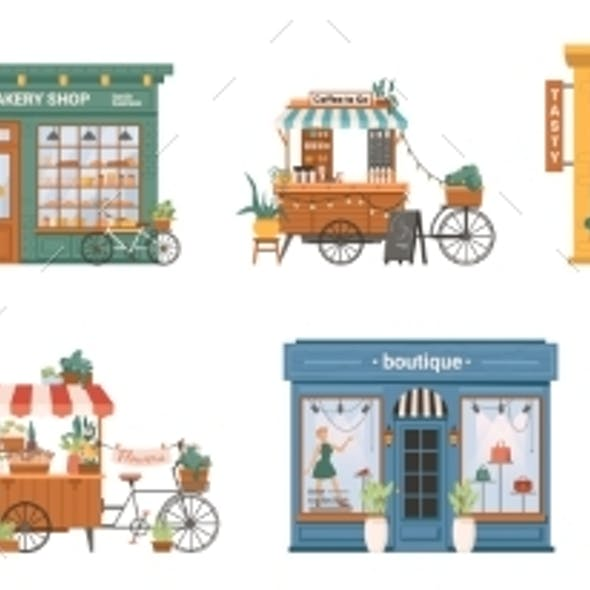 Small Business Building Set Shops and Stores Cafe