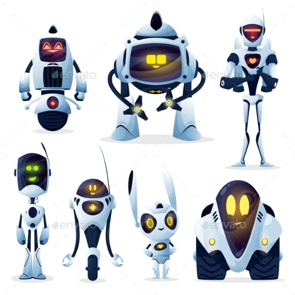Robots Cartoon Characters Android and Cyborgs