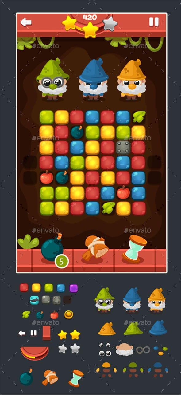 Puzzle - Casual Game - Match 3 - Game Assets