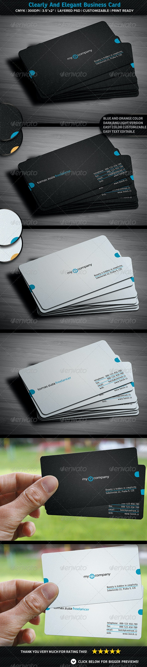 Clearly And Elegant Business Card - Corporate Business Cards