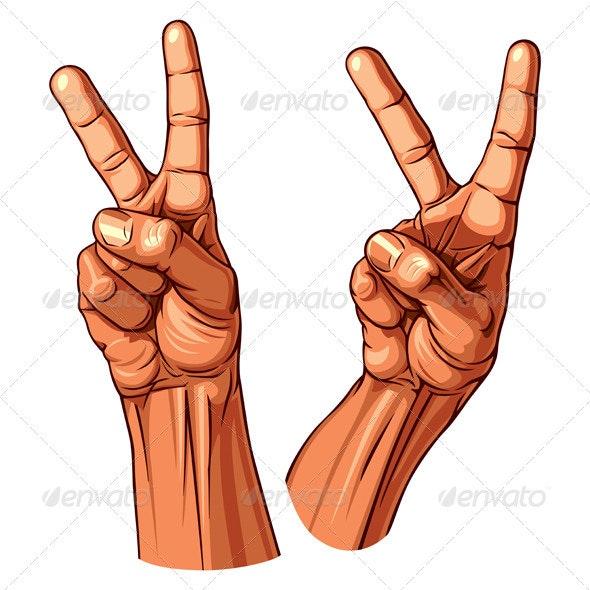 Set of Two Victory Symbol Hands - Miscellaneous Vectors