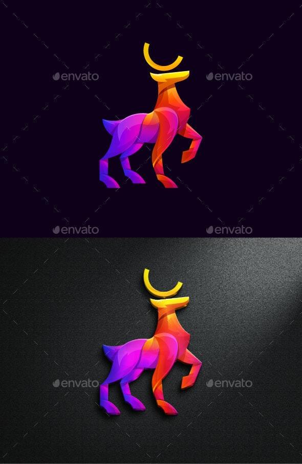 Deer in Gradient Color Luxury Vector Illustration - Animals Characters