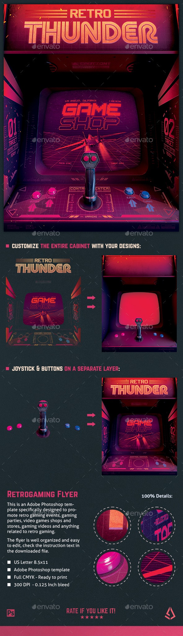 Retro Gaming 80s Synthwave Arcade Flyer - Miscellaneous Events