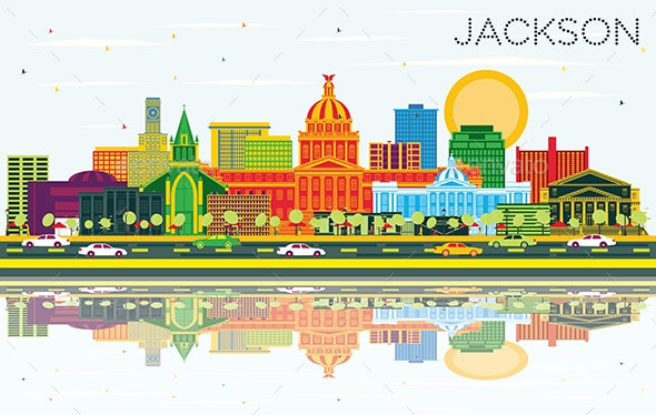 Jackson Mississippi City Skyline with Color Buildings, Blue Sky and Reflections. - Buildings Objects