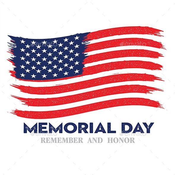 Memorial day remember & honor flag national flag usa  vector222 - Conceptual Vectors