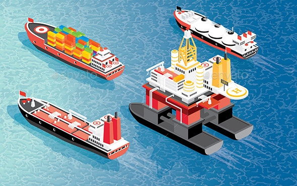 Isometric Oil Rig, Cargo Ship Container, LNG Carrier Ship and Oil Tanker. - Industries Business