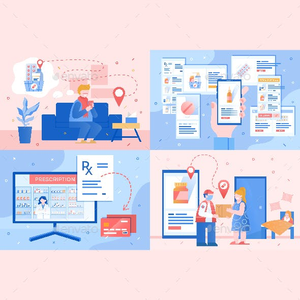 Online Pharmacy little scenes. Editable vector compositions in two palette
