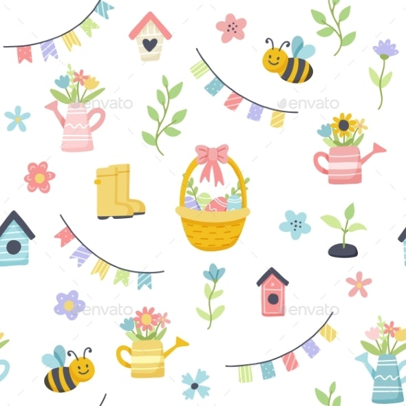 Easter Spring Pattern with Cute Eggs Flowers - Objects Illustrations