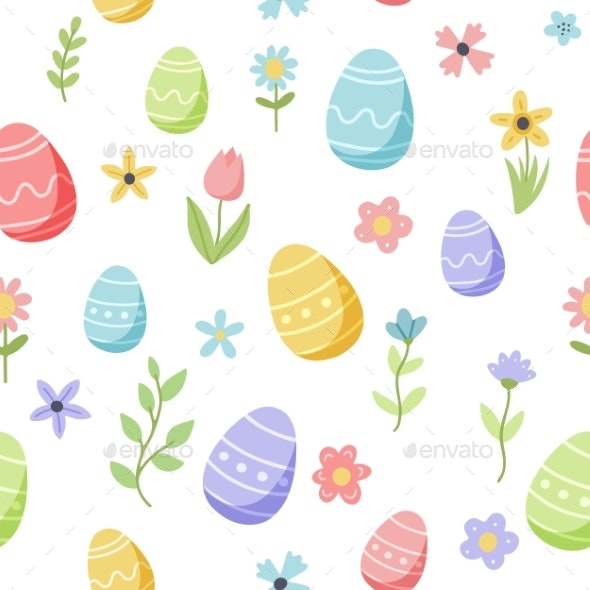 Easter Spring Pattern with Cute Eggs and Flowers - Objects Illustrations