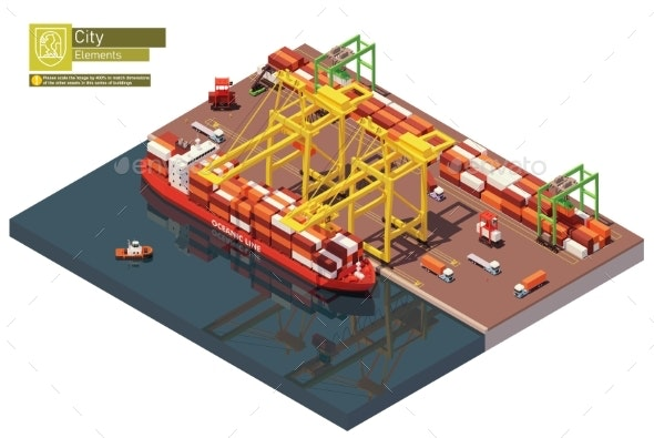 Vector Low Poly Port Container Terminal and Ship - Man-made Objects Objects