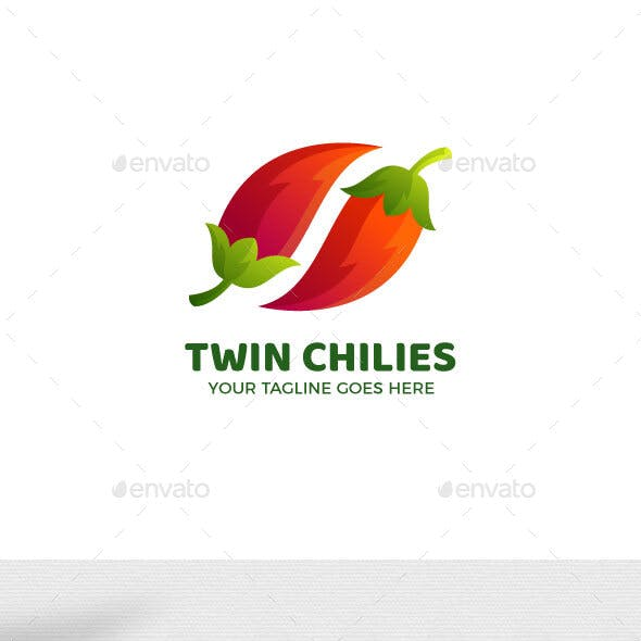 Twin Chilies Food Logo Template