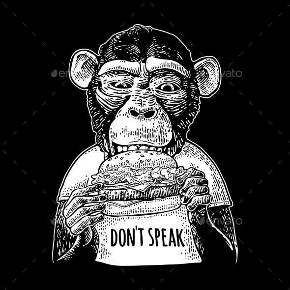 Monkey Wearing a Tshirt Eating a Hamburger Burger