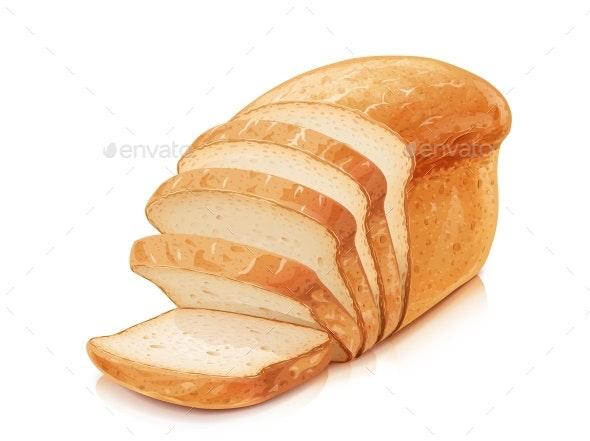 Traditional Classic Bread. White Wheat Flour Baking. Vector. - Vectors