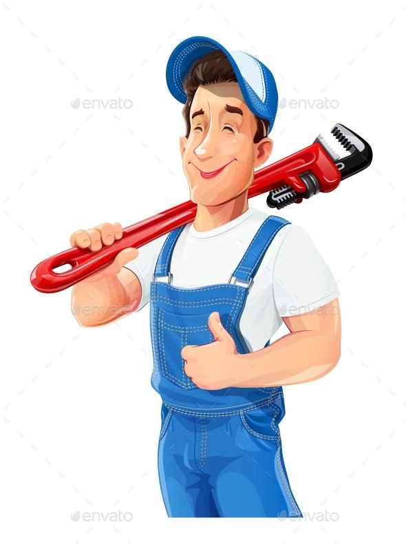 Plumber Man with Pipe Wrench. Work Occupation. Repair Service. - Vectors