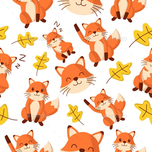 Fox Seamless Pattern - Patterns Decorative