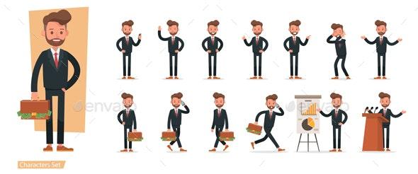 Set of Businessman Character Vector Design. - Characters Vectors
