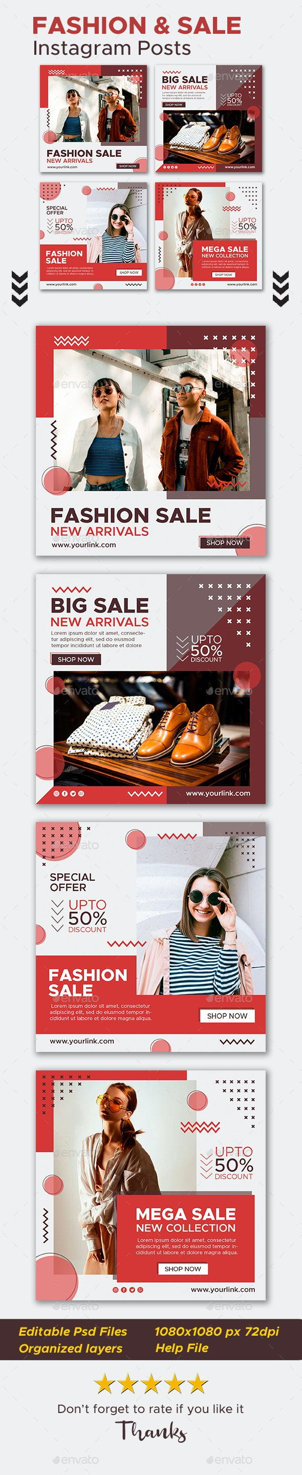 Fashion and Sale Instagram Posts - Social Media Web Elements