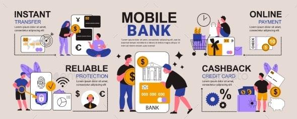 Mobile Bank App Infographics - Business Illustrations