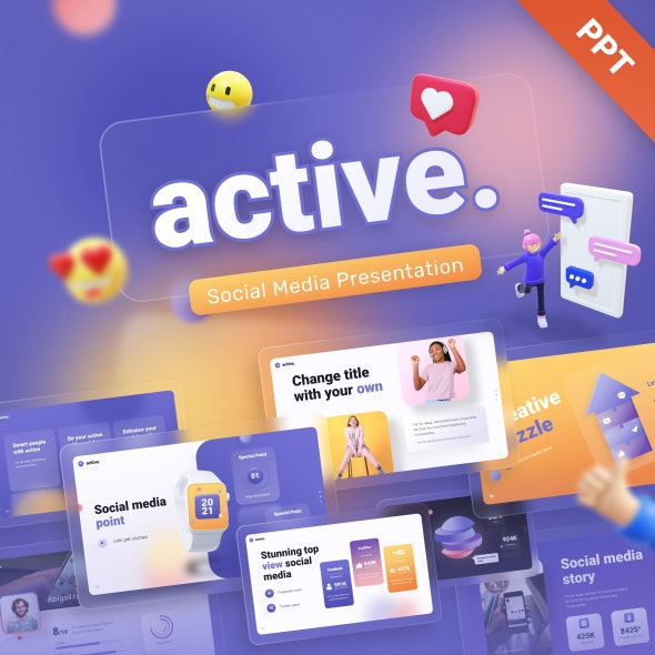 Active Social Media Creative Powerpoint Template - Creative PowerPoint Templates