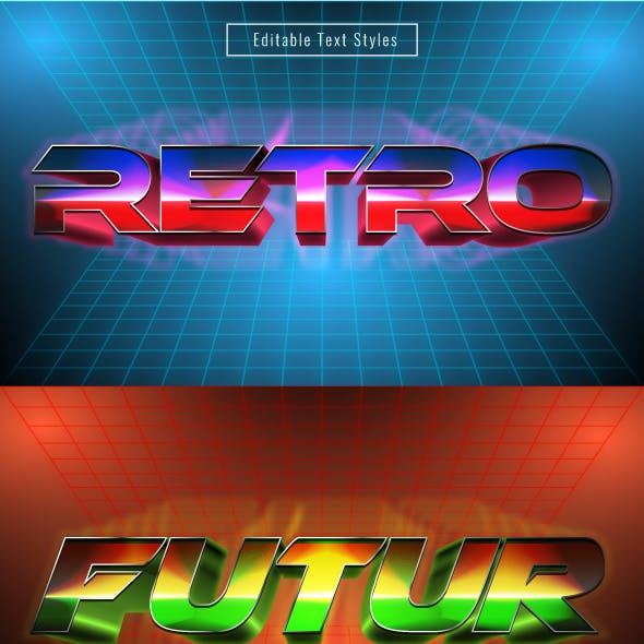 """This Is """" Retro Futuristic Text Effects"""" for Illustrator"""