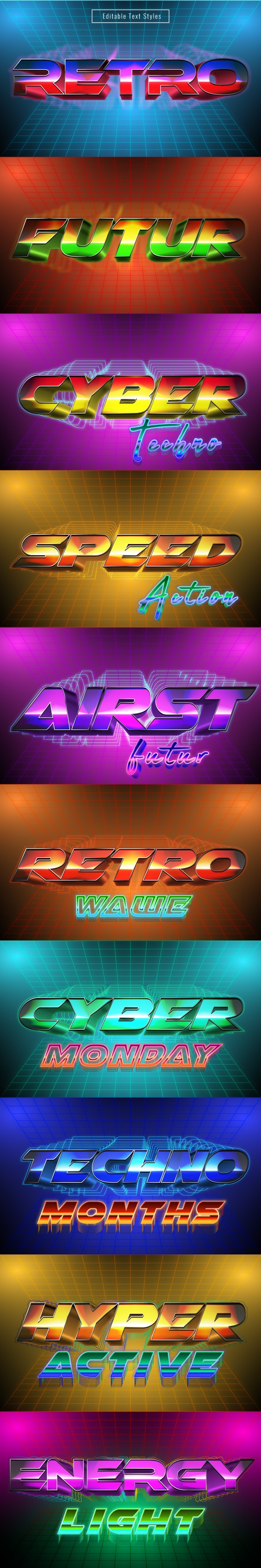 """This Is """" Retro Futuristic Text Effects"""" for Illustrator - Illustrator Add-ons"""