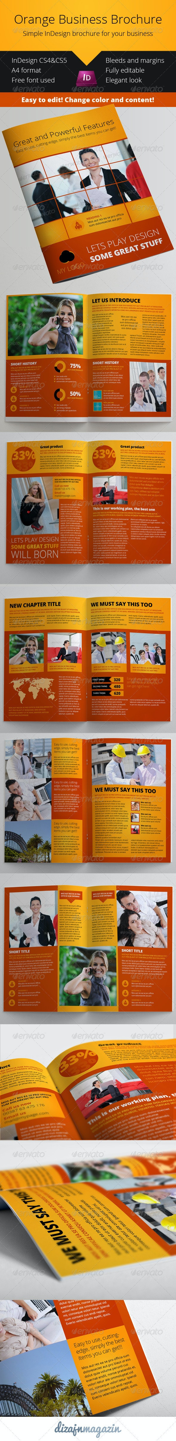 Orange Business Brochure InDesign Template - Corporate Brochures