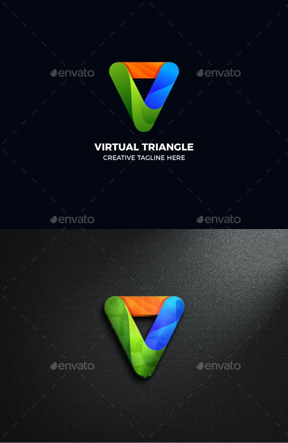 Gradient Triangle Geometric Logo Template - Abstract Logo Templates