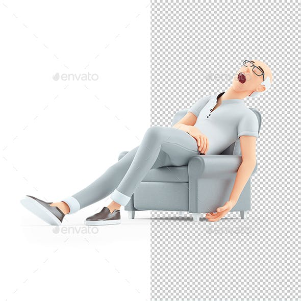 3D Senior Man Sleeping in Armchair