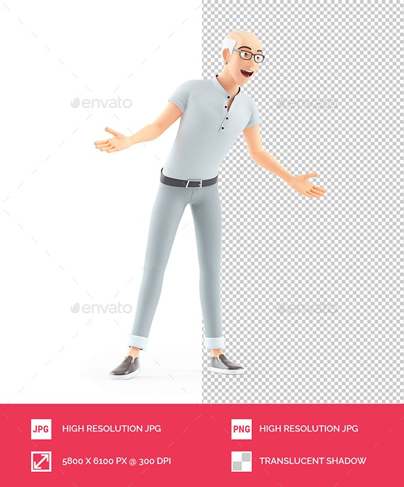 3D Senior Man Surprise Pose - Characters 3D Renders