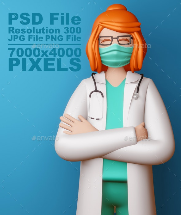 Doctor Girl Wearing Mask with Arms Crossed, 3d rendering. - Characters 3D Renders