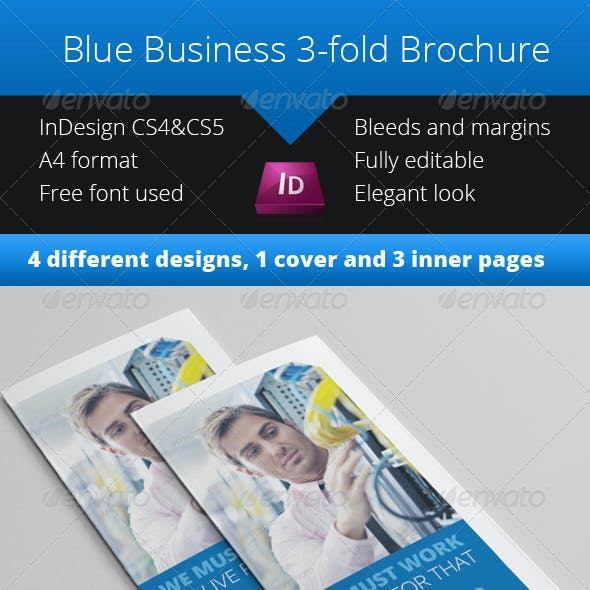 Blue Business 3-fold Brochure InDesign Template