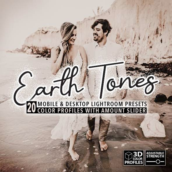 20 Earth Tones Lightroom Presets, 3D Profiles (Desktop & Mobile)