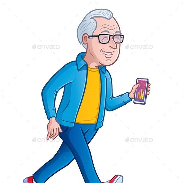 Happy Elderly Man Walking For Exercise