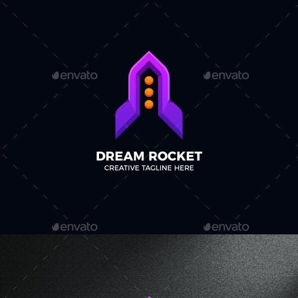 Rocket Spaceship Gradient Logo Template