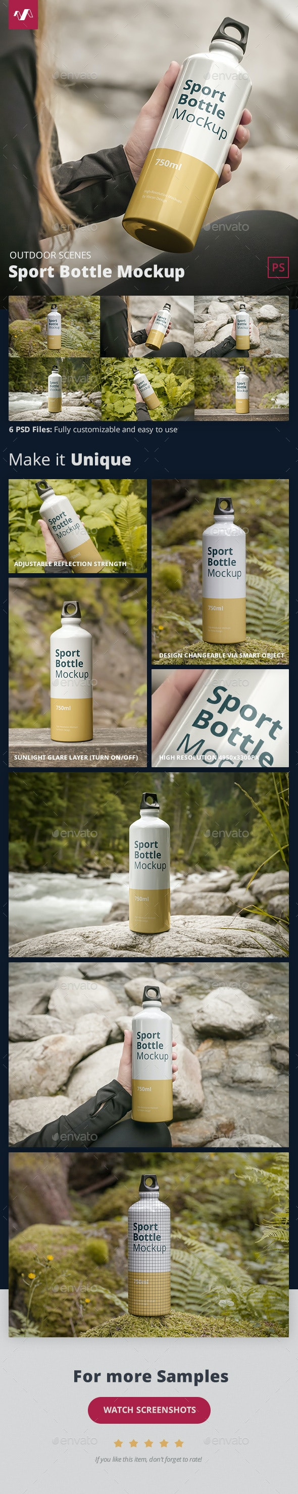 Sport Bottle Mockup Outdoor Scenes - Food and Drink Packaging