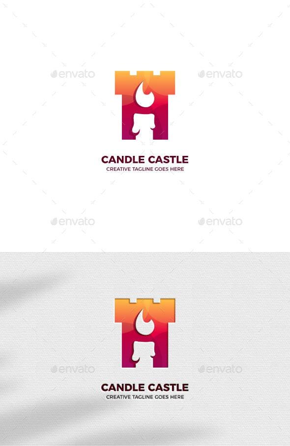 Candle Castle Gradient Logo Template - Buildings Logo Templates