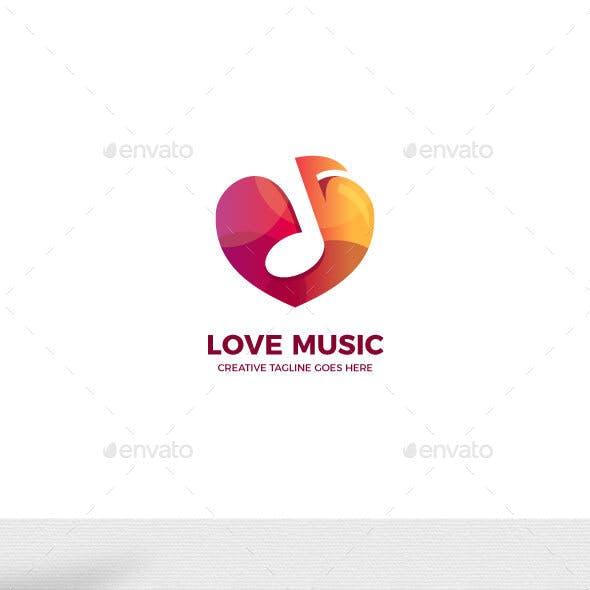 Love Music Gradient Logo Template