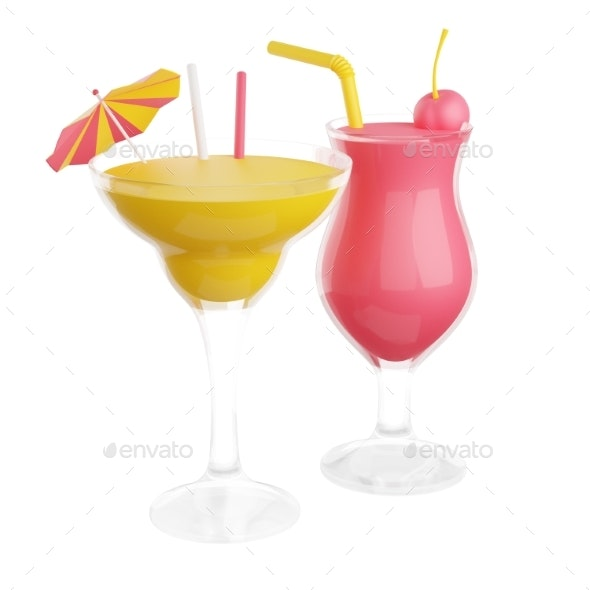 Fruit Alcohol Cocktails in Glass 3d Render - Objects 3D Renders