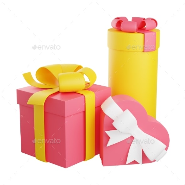 Pile of Wrapped Gift Boxes Decorated with Ribbon - Objects 3D Renders