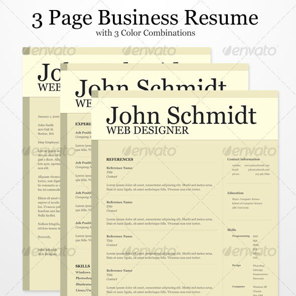 3 Page Business Resume with 3 Color Combinations