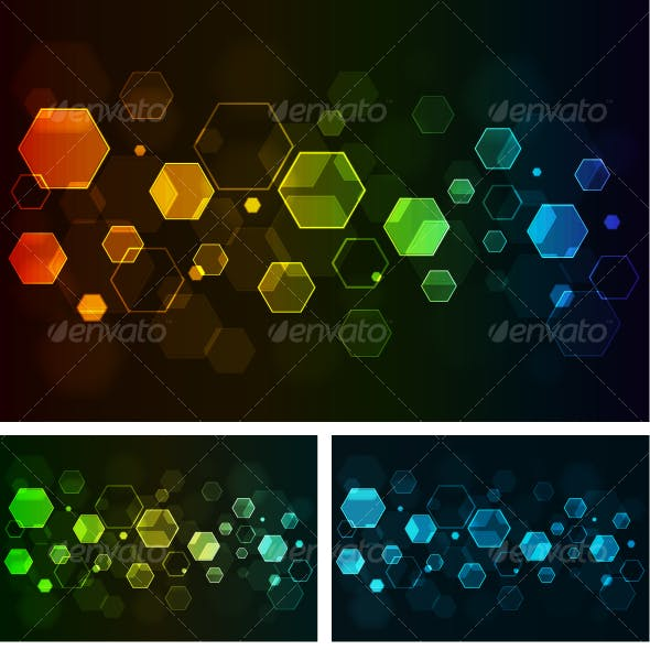 Abstract background with glowing hexagons