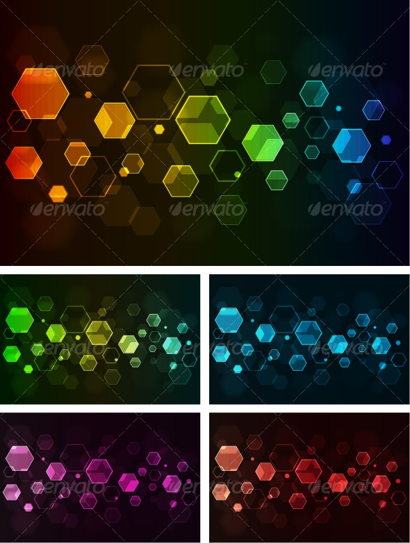 Abstract background with glowing hexagons - Web Technology