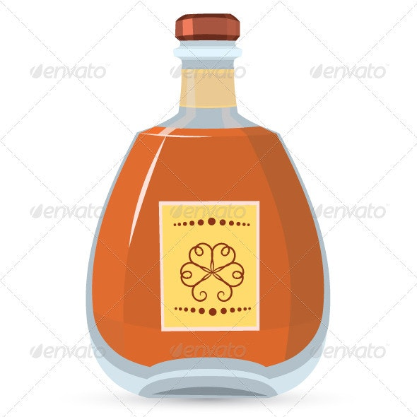 Bottle with whiskey vector illustration - Food Objects