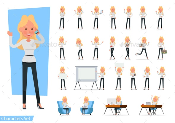 Set of Businesswoman wear White Shirt Character Vector Design. - People Characters